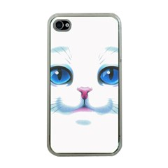 Cute White Cat Blue Eyes Face Apple iPhone 4 Case (Clear)