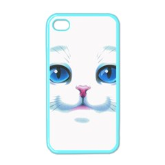 Cute White Cat Blue Eyes Face Apple Iphone 4 Case (color)