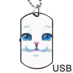 Cute White Cat Blue Eyes Face Dog Tag USB Flash (Two Sides)