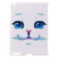 Cute White Cat Blue Eyes Face Apple Ipad 3/4 Hardshell Case (compatible With Smart Cover)