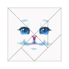 Cute White Cat Blue Eyes Face Acrylic Tangram Puzzle (6  X 6 )