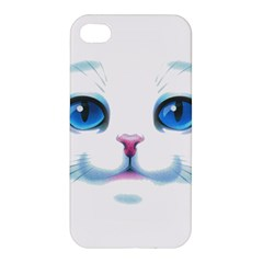 Cute White Cat Blue Eyes Face Apple Iphone 4/4s Premium Hardshell Case