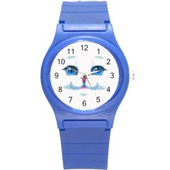 Cute White Cat Blue Eyes Face Round Plastic Sport Watch (s)