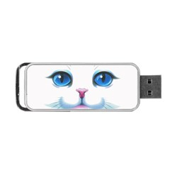 Cute White Cat Blue Eyes Face Portable USB Flash (One Side)