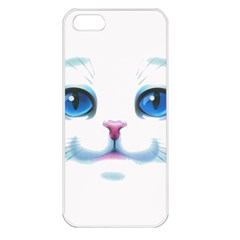 Cute White Cat Blue Eyes Face Apple iPhone 5 Seamless Case (White)