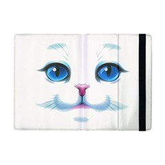 Cute White Cat Blue Eyes Face Apple iPad Mini Flip Case