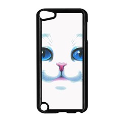 Cute White Cat Blue Eyes Face Apple Ipod Touch 5 Case (black)