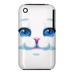 Cute White Cat Blue Eyes Face Iphone 3s/3gs
