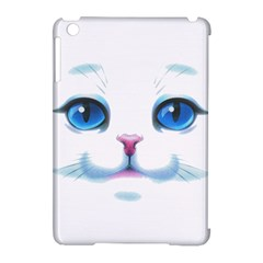 Cute White Cat Blue Eyes Face Apple Ipad Mini Hardshell Case (compatible With Smart Cover)