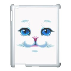 Cute White Cat Blue Eyes Face Apple Ipad 3/4 Case (white)