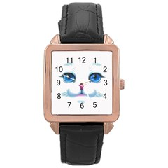 Cute White Cat Blue Eyes Face Rose Gold Leather Watch