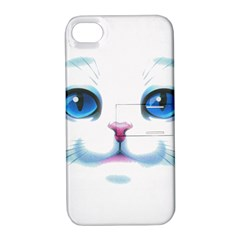 Cute White Cat Blue Eyes Face Apple Iphone 4/4s Hardshell Case With Stand