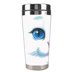 Cute White Cat Blue Eyes Face Stainless Steel Travel Tumblers