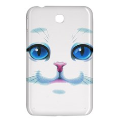 Cute White Cat Blue Eyes Face Samsung Galaxy Tab 3 (7 ) P3200 Hardshell Case