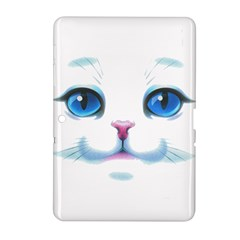 Cute White Cat Blue Eyes Face Samsung Galaxy Tab 2 (10 1 ) P5100 Hardshell Case