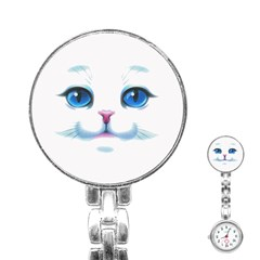 Cute White Cat Blue Eyes Face Stainless Steel Nurses Watch
