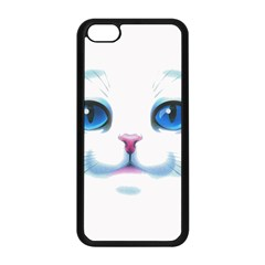 Cute White Cat Blue Eyes Face Apple Iphone 5c Seamless Case (black)