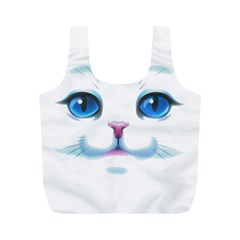 Cute White Cat Blue Eyes Face Full Print Recycle Bags (M)