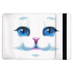 Cute White Cat Blue Eyes Face Ipad Air Flip