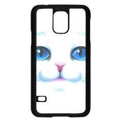 Cute White Cat Blue Eyes Face Samsung Galaxy S5 Case (black)