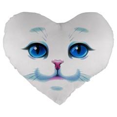 Cute White Cat Blue Eyes Face Large 19  Premium Flano Heart Shape Cushions