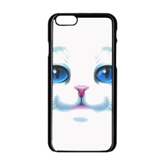 Cute White Cat Blue Eyes Face Apple Iphone 6/6s Black Enamel Case