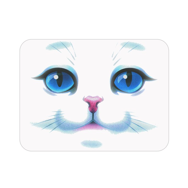 Cute White Cat Blue Eyes Face Double Sided Flano Blanket (Mini)