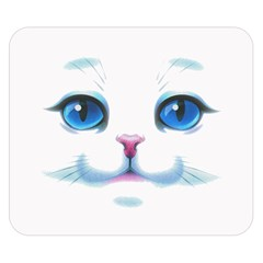 Cute White Cat Blue Eyes Face Double Sided Flano Blanket (Small)