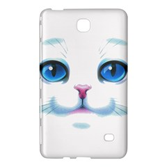 Cute White Cat Blue Eyes Face Samsung Galaxy Tab 4 (8 ) Hardshell Case