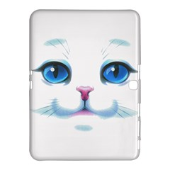 Cute White Cat Blue Eyes Face Samsung Galaxy Tab 4 (10.1 ) Hardshell Case