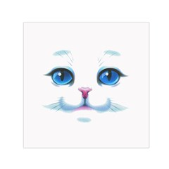 Cute White Cat Blue Eyes Face Small Satin Scarf (square)