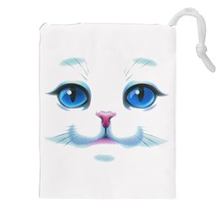 Cute White Cat Blue Eyes Face Drawstring Pouches (xxl)