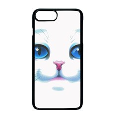 Cute White Cat Blue Eyes Face Apple Iphone 7 Plus Seamless Case (black)