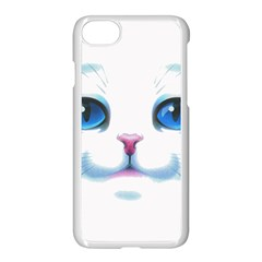 Cute White Cat Blue Eyes Face Apple Iphone 7 Seamless Case (white)