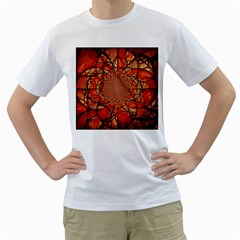 Dreamcatcher Stained Glass Men s T-Shirt (White) (Two Sided)