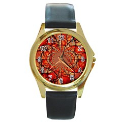 Dreamcatcher Stained Glass Round Gold Metal Watch