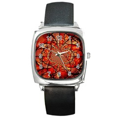 Dreamcatcher Stained Glass Square Metal Watch