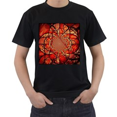 Dreamcatcher Stained Glass Men s T Shirt (black) (two Sided)