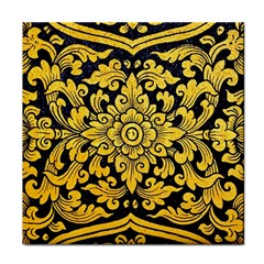 Flower Pattern In Traditional Thai Style Art Painting On Window Of The Temple Tile Coasters