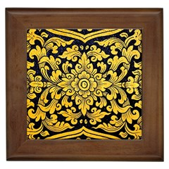 Flower Pattern In Traditional Thai Style Art Painting On Window Of The Temple Framed Tiles
