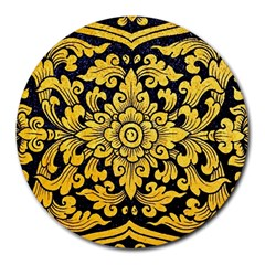 Flower Pattern In Traditional Thai Style Art Painting On Window Of The Temple Round Mousepads
