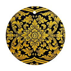Flower Pattern In Traditional Thai Style Art Painting On Window Of The Temple Ornament (round)