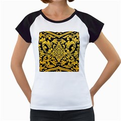 Flower Pattern In Traditional Thai Style Art Painting On Window Of The Temple Women s Cap Sleeve T