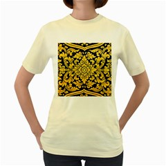 Flower Pattern In Traditional Thai Style Art Painting On Window Of The Temple Women s Yellow T Shirt
