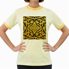 Flower Pattern In Traditional Thai Style Art Painting On Window Of The Temple Women s Fitted Ringer T Shirts