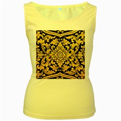 Flower Pattern In Traditional Thai Style Art Painting On Window Of The Temple Women s Yellow Tank Top