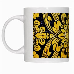 Flower Pattern In Traditional Thai Style Art Painting On Window Of The Temple White Mugs