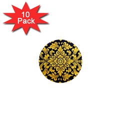 Flower Pattern In Traditional Thai Style Art Painting On Window Of The Temple 1  Mini Magnet (10 Pack)