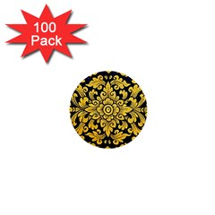 Flower Pattern In Traditional Thai Style Art Painting On Window Of The Temple 1  Mini Buttons (100 Pack)