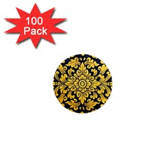 Flower Pattern In Traditional Thai Style Art Painting On Window Of The Temple 1  Mini Magnets (100 pack)